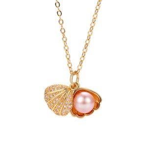 Pérolas de pérolas de pérolas de água doce colar de pérolas Zircon Shell Colares para mulheres meninas moda jóias presentes