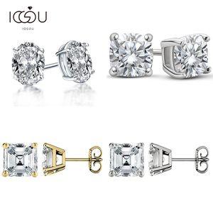 IOGOU 925 Silver D Color Diamond Stud Earrings for Women Oval Cushion Asscher Pear Sparkling Cut Moissanite Jewelry