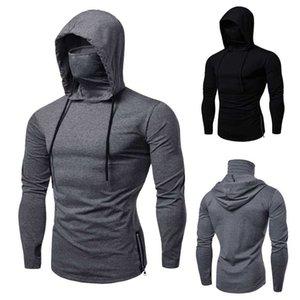 Mens Long Sleeve with Mask Hooded Autumn Winter Casual Sweatshirt Hoodies Streetwear Blouse Sports Mens Hoodie