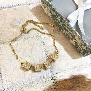 New Style Golden Fashion Bracelet Letter Top Quality Brass Material Star Full Diamond Bracelet Tail Shape Pull Stretch Bracelet