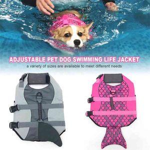 Pet Dog Life Jacket Safety Clothes Life Vest Collar Harness Saver Pet Dog Swimming Preserver Summer Swimwear Mermaid Shark 210401