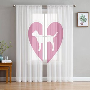 Curtain & Drapes Animal Love Dog Logo Pink And White Sheer Curtains For Living Room Modern Voile Bedroom Tulle Window