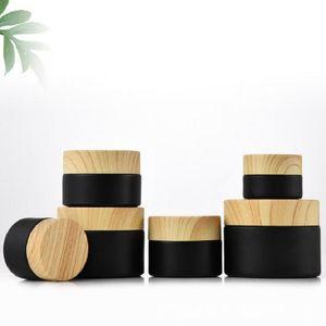 Упаковочные бутылки Черные матовые стеклянные банки косметика с лесоматериальными пластиковыми крышками PP LILER 5G 10G 15G 20G 30 50 г Бальзам для бальзамов для губ