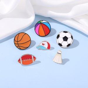 Sports Balls Enamel Pin Boy Students Football Soccer Beach Ball Athletics Brooch Pins Jackets Skirt Badge Jewelry Friends Gifts