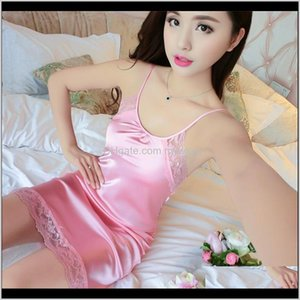 Sleep & Lounge Lace Bow Lady Sleepwear Dress Sexy V Neck Summer Sleeveless Sleepshirts Silk Solid Color Square Collar Homewear Women 1 3D2Ra