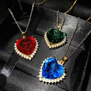 Luxury Heart of the Ocean Gemstones Necklaces Big Pendants Bule Red Green Crystals For Women Girls Gift Wedding Feasts jewelry