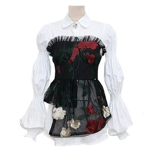 2020 Autumn New Arrival Long Sleeve Lace Faked 2 Piece Blouse Top1