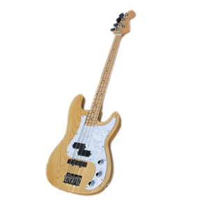 Custom Made 4 Strings Prec Electric Bass Guitar,ASH Wood Body ,Maple Neck ,Chrome Buttons,White piackguard