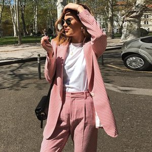 Autumn And Winter Blazer Female Fashion Grid Pattern Coat Pink Business Jacket Office Lady Women Tops High Quality Slim Women's Suits & Blaz