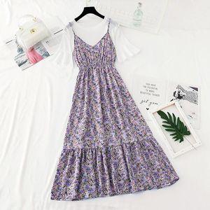 2021 Floral print Sling Dress Women two piece set Summer Flare sleeve T-shirt Top + Ruffles Chiffon Long Dress fashion Suit