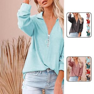 Women's Blouses & Shirts Loose Casual Ribbing Long Sleeve T-shirt Spring For Going Out