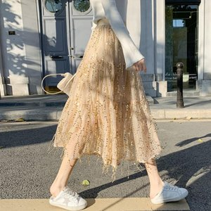 Skirts Women 2021 Spring Summer Fashion Mid-long Loose Female High Waist A-line Ladies Solid Color Thin J235
