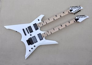 Chitarra elettrica nera in fabbrica personalizzata in doppio collo con 6 + 12 corde per chitarra, hardware nero, fretboard in acero, offerta personalizzata