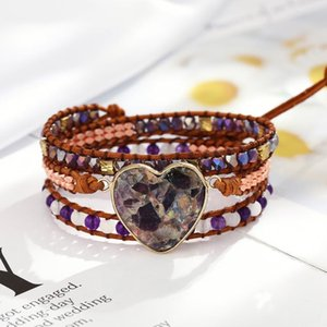 Arrival Creative Design Leather Statement Bracelet Boho Handmade Natural Stone Crystal Hematite Bead 3 Wrap Bracelets Tennis