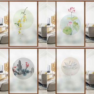 Adesivos Decorativos Fosco de vidro fosco casa de banho janela sombreamento adesivo chinês vaso sanitário porta anti peep transparente filme opaco