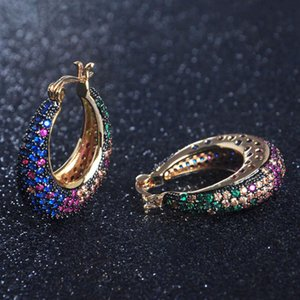 OB Jewelry-Multi Color Brazilian Gold Ear Cuff Earrings Rainbow Stone Big Earrings