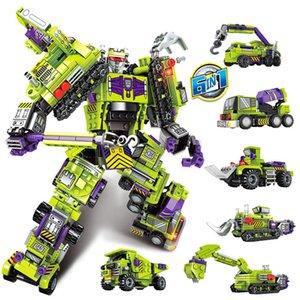 6in1 التحول روبوت بناء كتلة مجموعة اللعب الاطفال مدينة حفارة الهندسية سيارة شاحنة للأطفال هدية