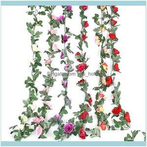 Decorative Wreaths Festive Party Supplies Home & Garden220Cm Artificial Vines Wedding Decor 16 Rose Fake Flowers Rattan String Garden Hangin