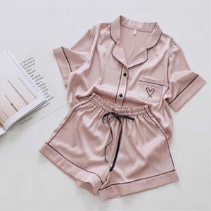 Womens Sleepwears Silk Pajamas For Women Heart Embroidered Pyjamas Pj Set Home Suit Satin Nightwear Robes Sleepwear Pijama Verano Mujer