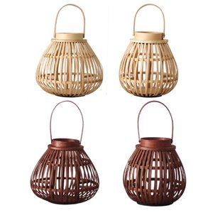 Candle Holders Bamboo Lantern Hand Woven Ing Candlestick Holder El Garden Decor Crafts