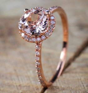 Glamour Lady Rose Gold Ring Zircon Crystal Wedding Couple For Women's Gift Romantic Sweet Band Rings