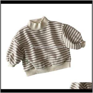 Hoodies Sweatshirts 036M Baby Girls Boys Warm Sweater Striped High Collar Cotton Fleece Winter T Shirt Outwear Korea Styles Toddler Cl Hs9Xi