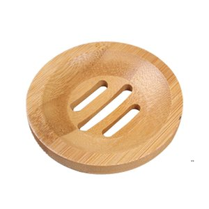Natural Bamboo Soap Dishes Holder Mini Portable Environmental Protection Soaps Tray Storage Boxes Household Bathroom Accessories 8CM FWF8375