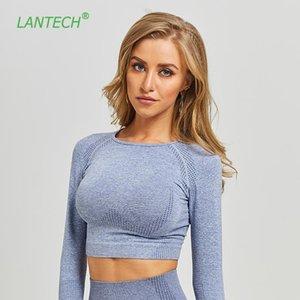 LANTECH FEMMES GYM T-shirts Sports Yoga Sans couture Crop Tops Fitness Compression Collants Chemise Running Vêtements Entraînement Sportswear Z1125