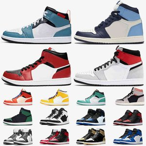 Jumpman Womens Mens Basketball Shoes 1s Fearless Obsidian Mid Chicago Black Toe Light Smoke Grey Pine Green 1 designer trainers sneakers