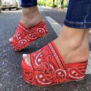 المرأة مريح باندانا الانزلاق على النعال الشريحة داخلي في الهواء الطلق -لاوب أحذية الشاطئ منصة الصنادل النساء الصيف تو يتخبط عدم الانزلاق