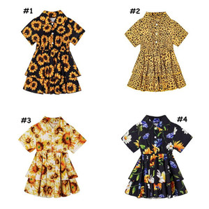 Baby Girl Dress Tutu Bright Leopard Flower Print Yellow Summer With Button Short Sleeves For Party Boutique