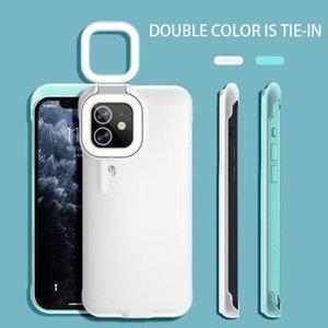 Apple 12 mobile phone case smart ring flashing fill light net celebrity selfie artifact live LED warm light beauty light shooting video artifact