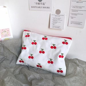 Pencil Bags 1 Pcs Simple Fruit Cherry Canvas Embroidery Case Cosmetic Korean Storage Bag Coin Purse Student Stationery Gifts