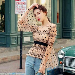 Womens Sexy Blouses Ladies See-through Sheer Mesh Dot Blouse Transparent Puff Long Sleeve Cropped Tops Shirts Summer Casual New