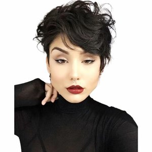 Short Natural Color human Hair Pixie Cut Wig full Machine no lace from wigs Black Women