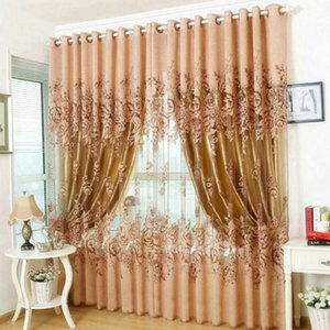 1 pcs Window Curtain Luxurious Upscale Jacquard Yarn Curtains Peony Pattern Voile Door Window Curtains Living Room Bedroom Decor 210712