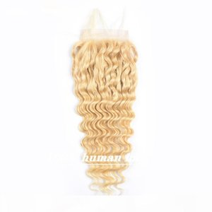 613# deep wave 100% human virgin hair lace closure deep wave Russian Hair blonde