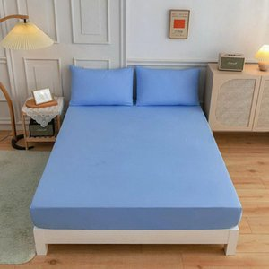Sheets & Sets Polyester Solid Fitted Sheet Mattress Cover Four Corners Bed Allaround Elastic Rubber Anti-Slip Dustproof
