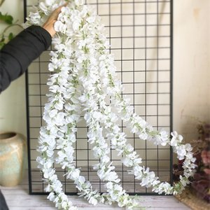 120cm Long Artificial Wisteria Flower Vine Silk Hydrangea Rattan DIY Wedding Birthday Party Decoration Wall Backdrop Flowers