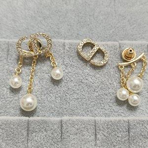 home letter women's Tassel S925 silver needle pearl inlaid gold net red tide Fashion Earrings
