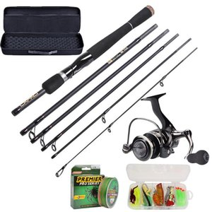 Fishing Rod And Reel Combos Full Kits, Spinning Gear Pole Sets With Line Lures Hooks Portable Case For Combo