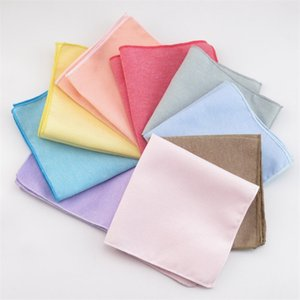 Pure color Hankerchiefs 15colors cotton Pocket square Napkin kerchief mocket men's noserag For Cocktail Party Wedding Party Christmas 882 Q2