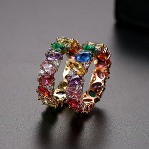 Funmode Multicolor Cubic Zircon Statement Finger Rings Anillos Mujer Rose Gold Color Ring Wholesale FR176 Cluster