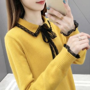 sweater Han Fandi spring dress autumn women lace neck knitted super fire CEC fairy net red lazy style