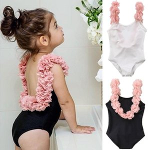One-Pieces 1-5Y Kids Baby Girls Swimsuits Summer Ruffle One Piece Cake Printed Backless Beachwear Children Little Swimming Suit