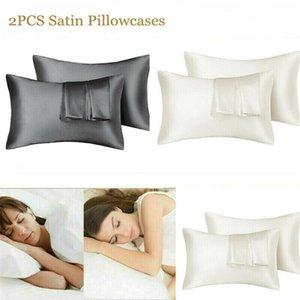 DHL Ship 20*26 20*30 20*36in Silk Satin Pillowcase Home Multicolor Ice Silk Pillow Case Cover Double Face Envelope Bedding Pillow Cover