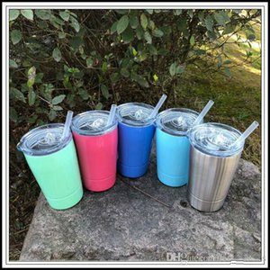 5 Colors 12oz Kid Milk Cup Vacuum Insulated Beer Mugs Stainless Steel Wine Glass Coffee Mugs With Lid With Straw CCA9457 500pcs