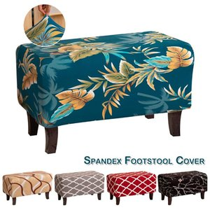 Cushion Decorative Pillow Stretch Foot Stool Slipcover Vintage Floral Ottoman Cover Rectangle Footrest Cushion For Living Room Home Decorati