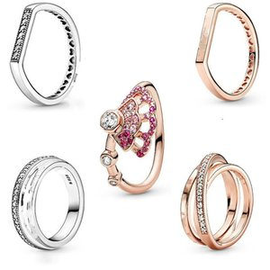 Cluster Rings 925 Sterling Silver Ring Rose Pink Fan With Crystal For Women Wedding Party Gift Jewelry