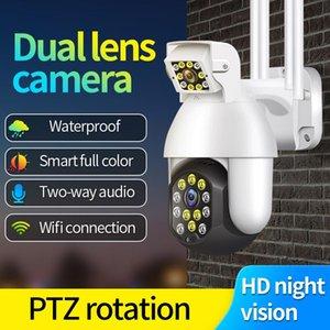 Cameras Outdoor WIFI Surveillance Camara Dual Lense CCTV 1080P 2MP Waterproof Wireless Camera Motion Detection Two Way Audio Cam
